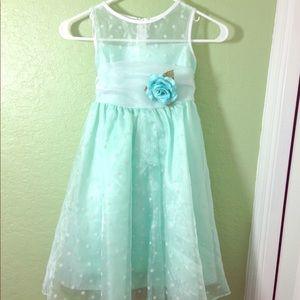 Kid's Dream Mint & White Polka-dot Organza Dress